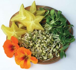 A colourful snack... starfruit slices, sunflower lettuce, mung bean sprouts and nasturtium flowers.